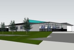 Artist impression of new single storey school building