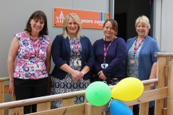 Anne Scott (Early Years Programme Manager), Nicky Lindores (Eyemouth EYC Manager), Linzi Betts (Eyemouth EYC Admin Support) and Marjorie Hutton (Early Years Strategy Officer) at opening of Eyemouth Early Years Centre