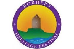 Borders Heritage Festival showing animation of old ruin against a sunset sky