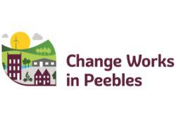 Change Works in Peebles text and cartoon image of Peebles high street