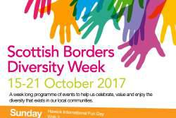 Colourful hands highlight the words Scottish Borders Diversity Week