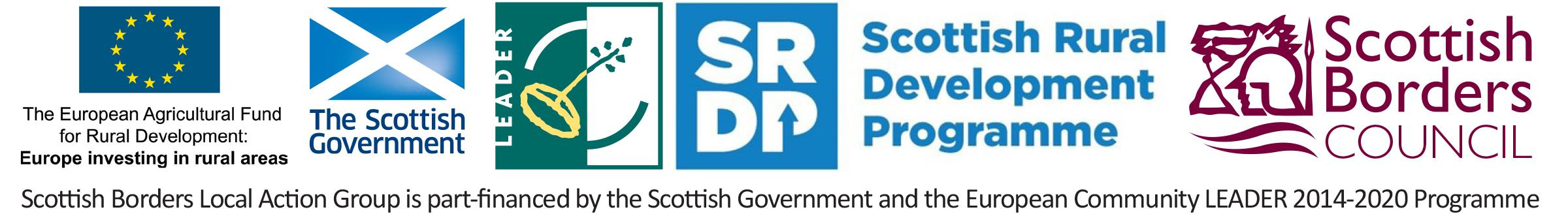 LEADER programme logo including The European Agricultural Fund for Rural Development, Scottish Government, LEADER, Scottish Rural Development Programme and ourselves