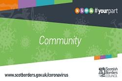 #yourpart branded  COVID-19 banner with 'Community' and green background