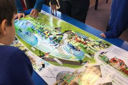 Pupils looking at plans for Galashiels play park