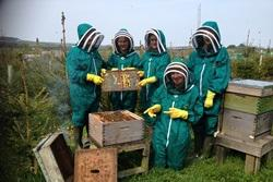 Five young people stand in front of a bee aviary wearing green protective clothing, gloves and masks