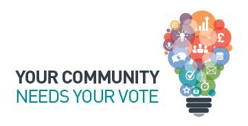 Multi-coloured lightbulb graphic next to text - 'YOUR COMMUNITY NEEDS YOUR VOTE'