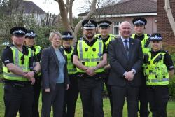 6 police officers with Councillors launching campaign
