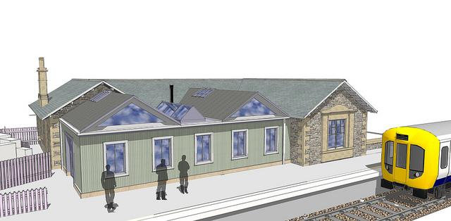 Artists impression of railway station building next to train track with train at platform