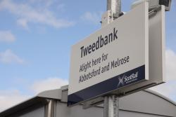 Train station sign at Tweedbank