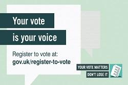 your vote matters poster with info on how to register