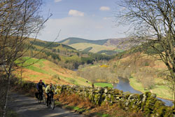 Two cyclists near Walkerburn.