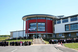 The outside of Eyemouth High School on a sunny day.
