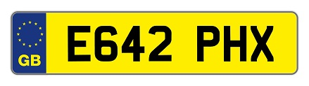 number plate example E642 PHX