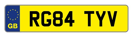 number plate example RG84 TYV