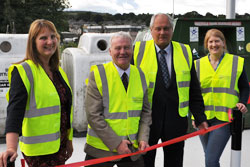Selkirkshire Councillors Michelle Ballantyne, Gordon Edgar and Vicky Davidson alongside Environmental Services Councillor David Paterson at the reopening of the Selkirk Recycling Centre