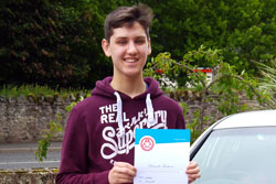 Ruaridh Fairburn of Eyemouth with his advanced driver pass.